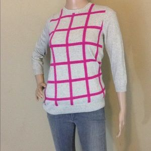 J. Crew Gray and Pink Sweater